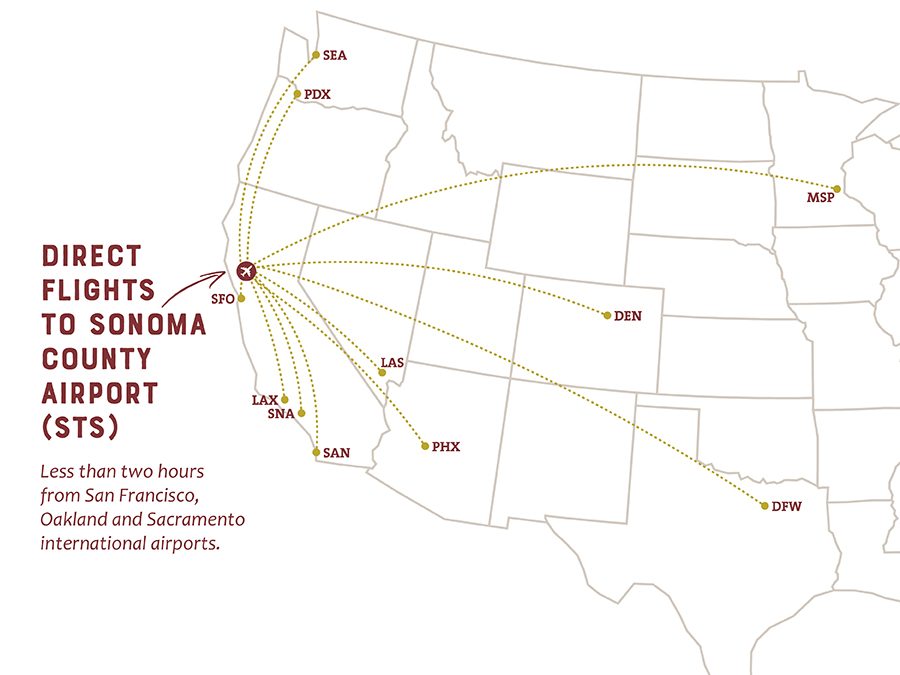 Sonoma County Airport Direct Flights Map