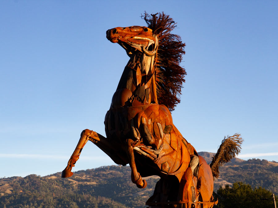 "A metal horse sculpture ""Victory"" by Bryan Tedrick in Geyserville"