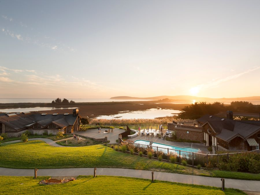 The inn sits along the Sonoma Coast at sunset