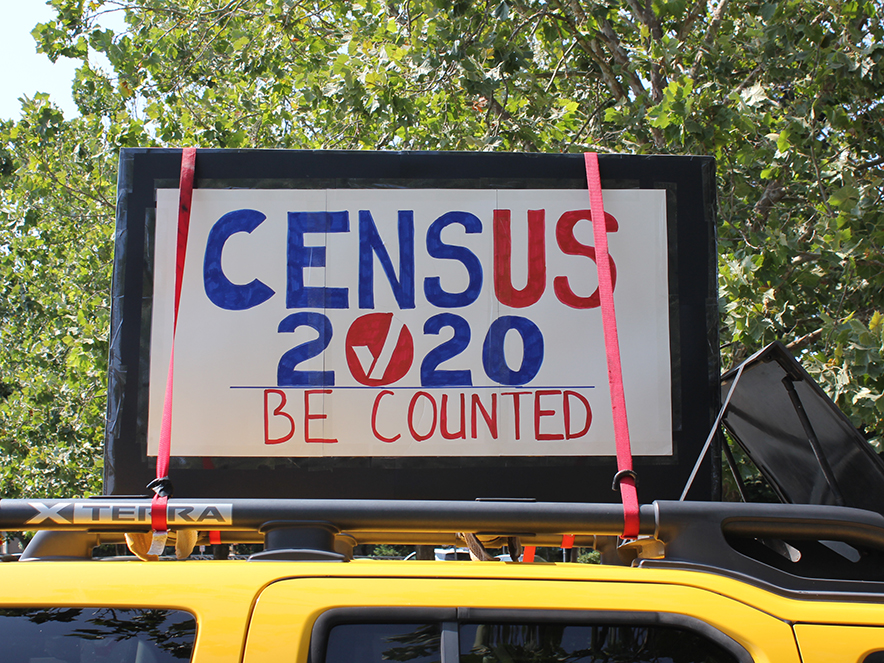 Image of car with pro-census sign