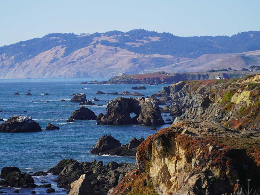 The rugged Sonoma Coast on a sunny day
