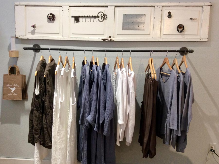 Clothes on display inside the store