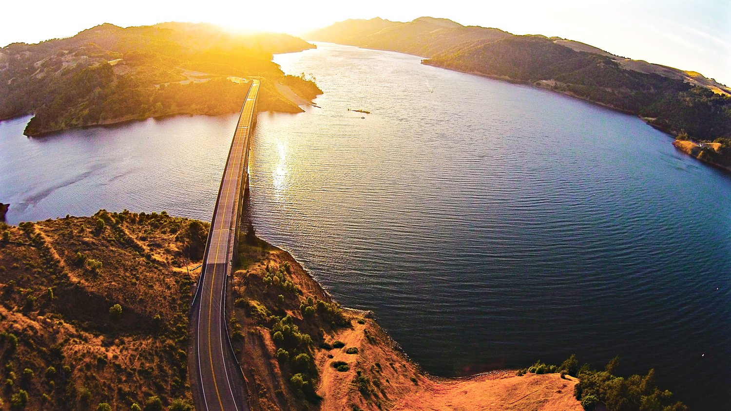 Aerial photo of Lake Sonoma above the Lake Sonoma Bridge