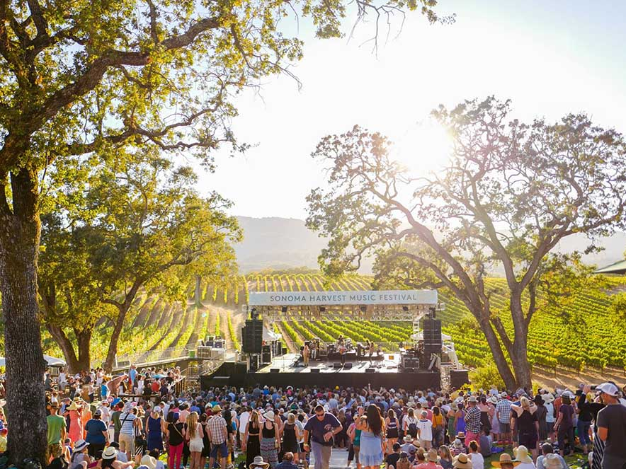 Image of stage and crowd at Sonoma Harvest Music Festival