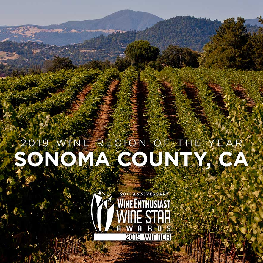 Jpeg of the Wine Enthusiast's logo awarding Sonoma County as 2019 Wine Region of the Year Enthusiast