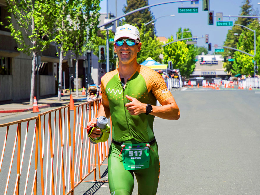 Image of an Ironman competitor running.