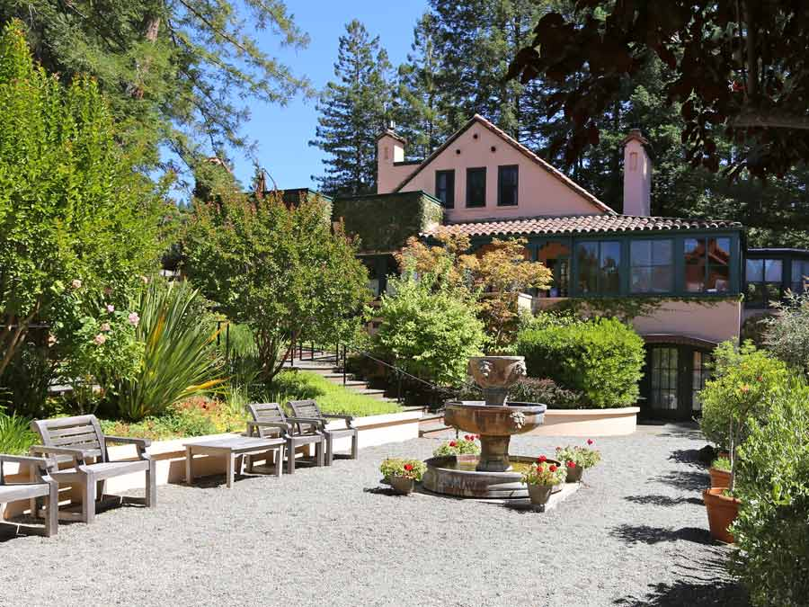 The inn is surrounded by trees at the Applewood Inn and Spa, Guerneville