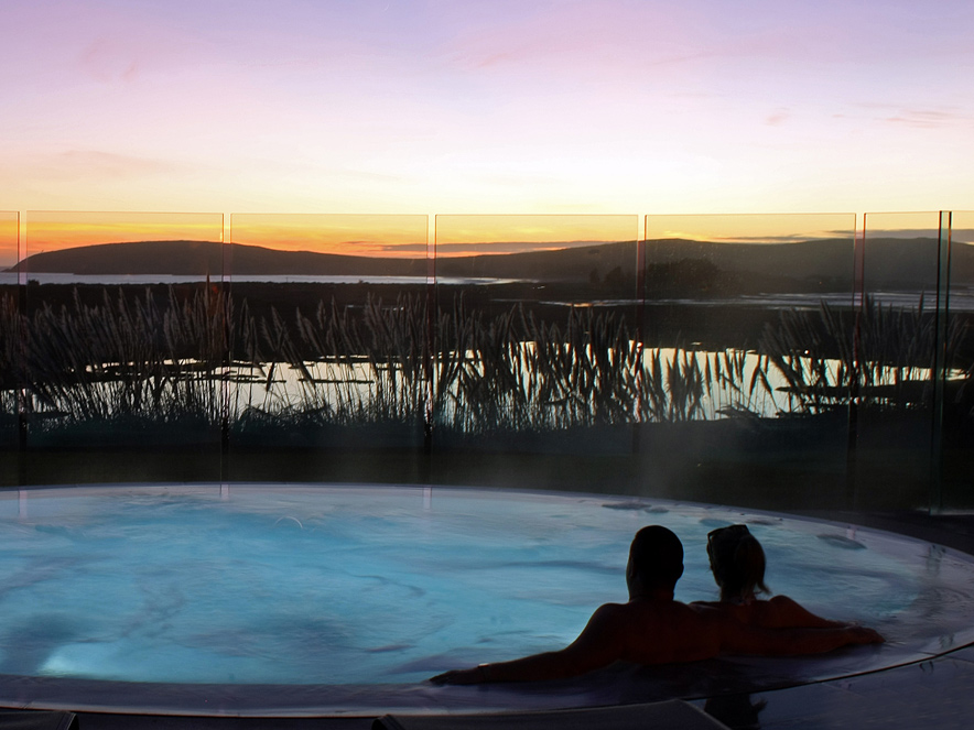 two people in hot tub at Sonoma County