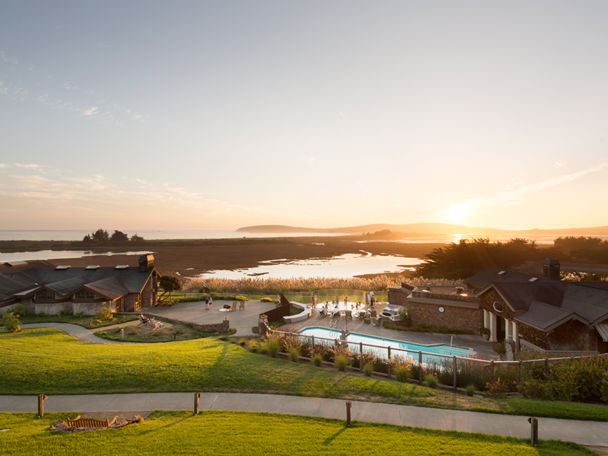 The pool at the Bodega Bay Lodge is next to the Pacific Ocean in Sonoma County