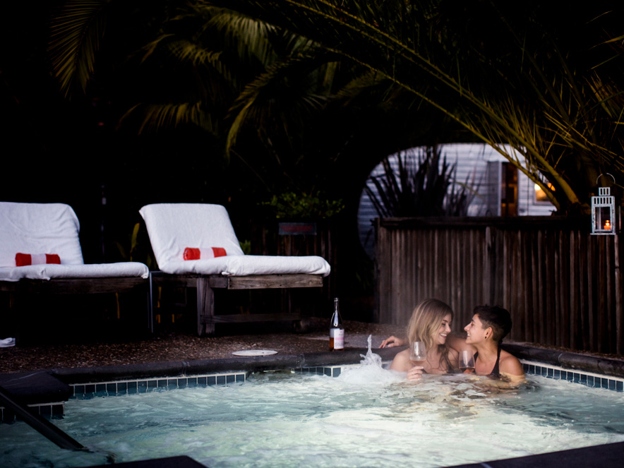 Couple in hot tub at Boon Hotel and Spa in Guerneville, Sonoma County