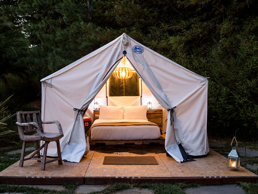 A luxury gleaming tent surrounded by trees in Guerneville, Sonoma County