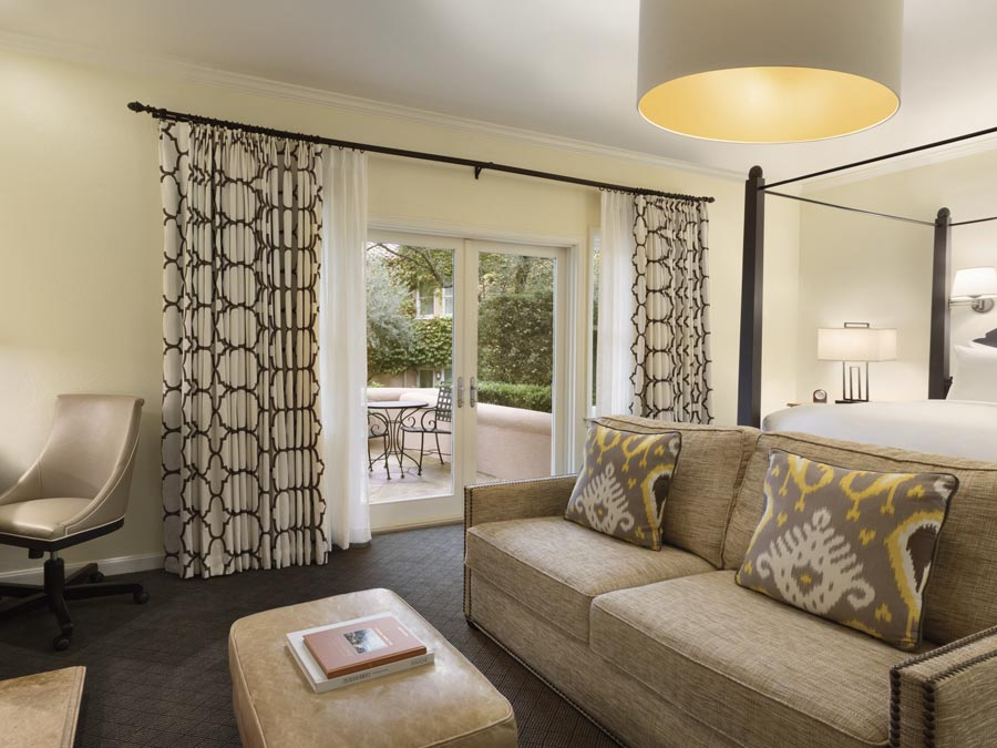 A luxurious guest room at the Fairmont Sonoma Mission Inn & Spa, Sonoma
