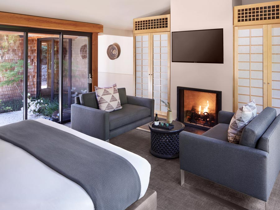 The luxurious Zen Suite at Gaige House + Ryokan overlooks the creek in Sonoma County