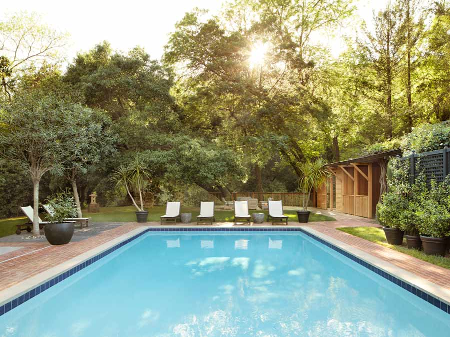 The luxurious pool at the Gaige House + Ryokan, Sonoma County