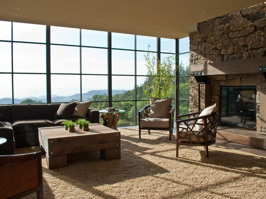 The living room of Gustafson Family Vineyards, Luxurious Estate Home has a gorgeous view of the Dry Creek Valley, AVA