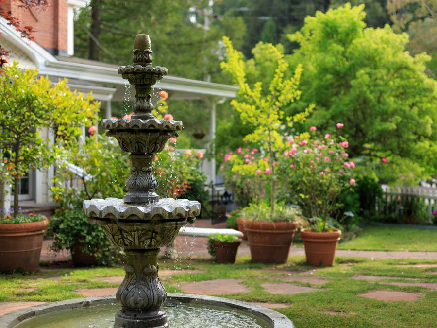 An outdoor fountain in the garden at the Inn at Occidental, Sonoma County