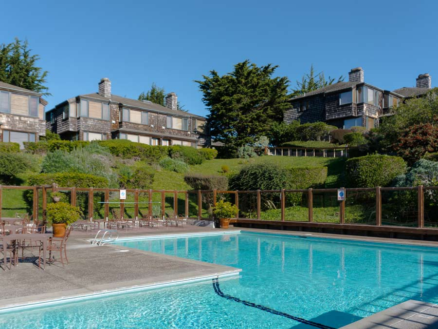 The pool at the Inn at the Tides on a sunny day, Bodega Bay