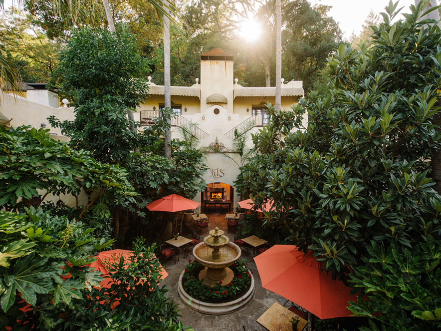 Palm-covered courtyard at Kenwood Inn and Spa, Sonoma County, California