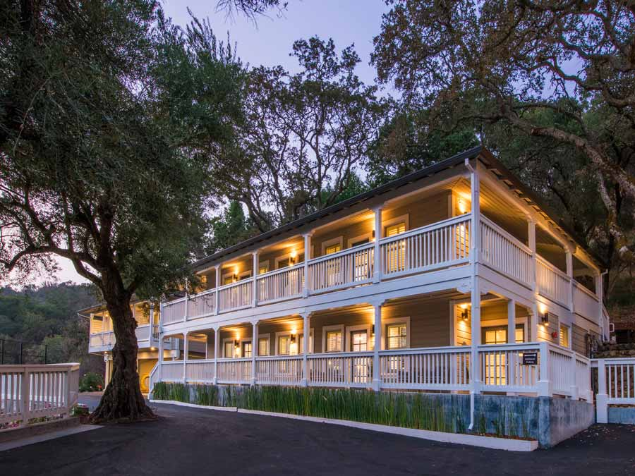 The exterior of the Olea Hotel at dusk in Glen Ellen, Sonoma County