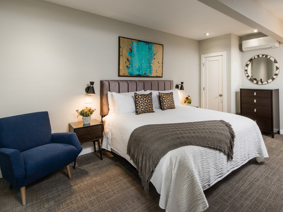 A luxuriously modern guest room at the Olea Hotel, Glen Ellen