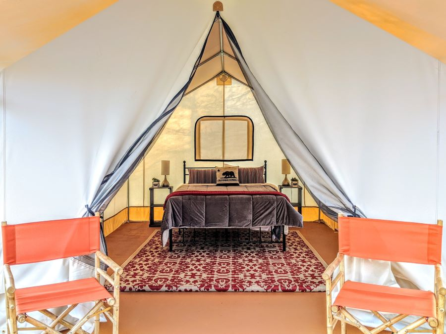 Picture of inside of glamping tent at Wildhaven Sonoma