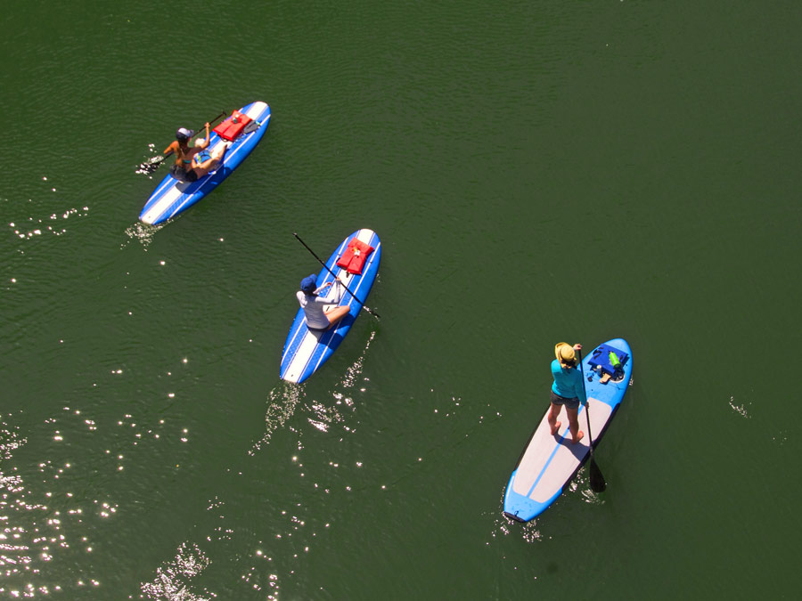 Three people paddle board in the Russian River in Sonoma County