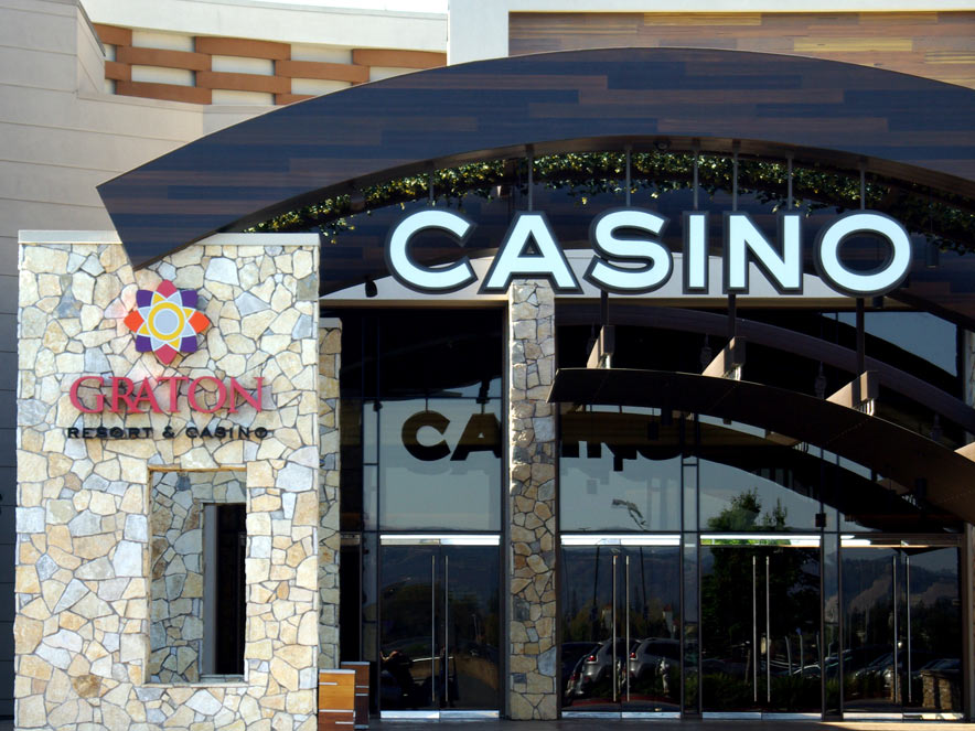 The exterior entrance of the modern casino