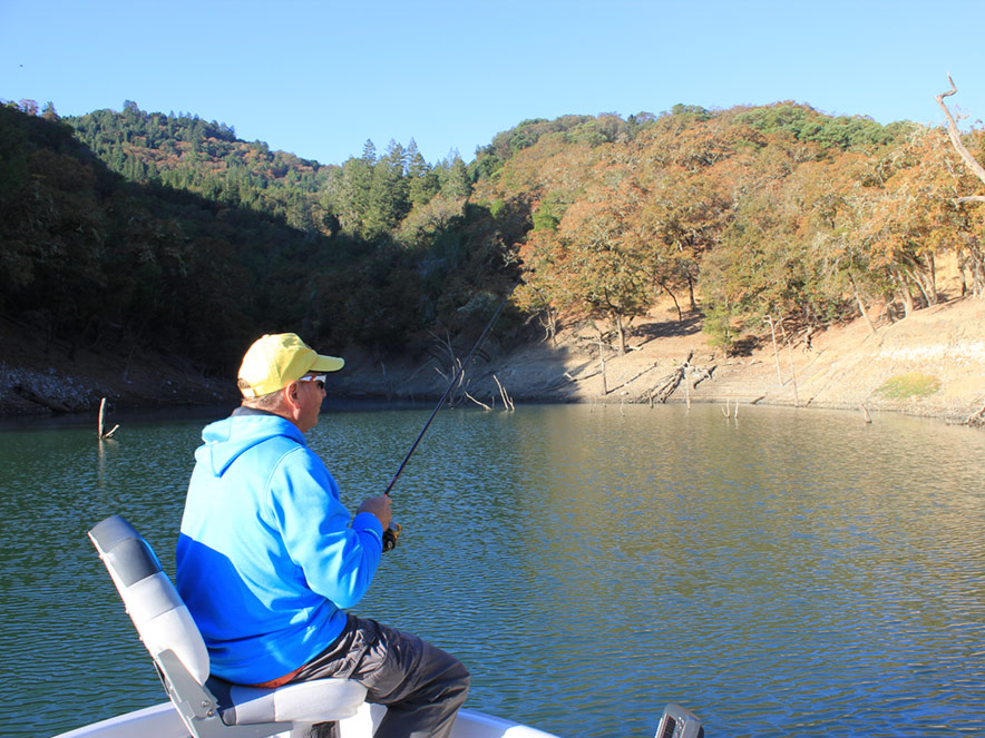 person fishing on Lake Sonoma in Sonoma County