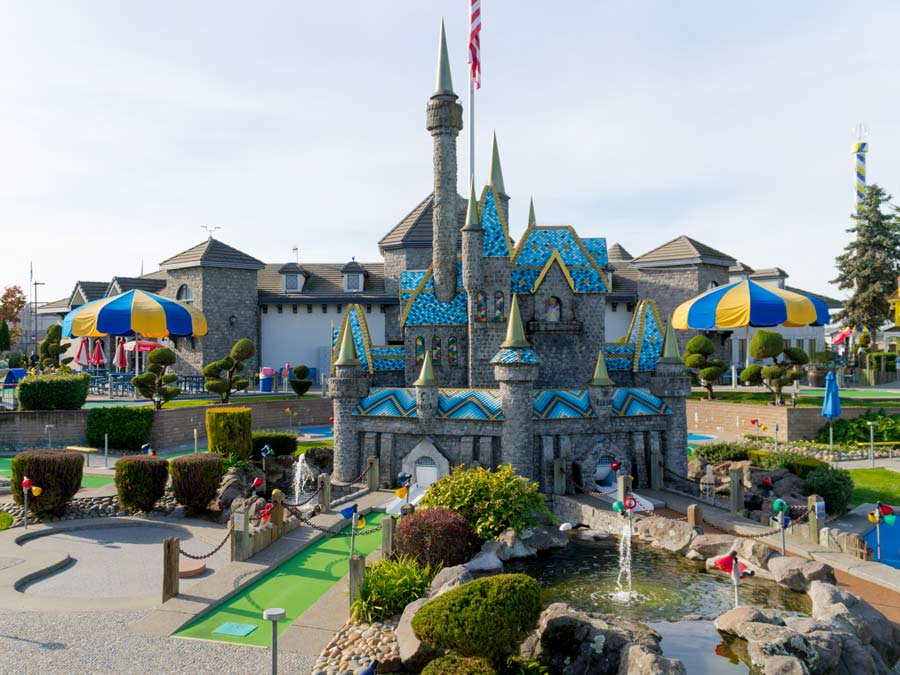 A castle is the centerpiece of the mini golf course at Scandia Family Fun Center, Rohnert Park