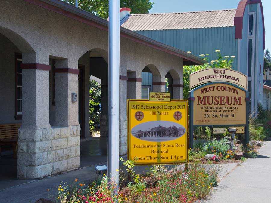 The sign in front of the entrance to the West County Museum, Sebastopol
