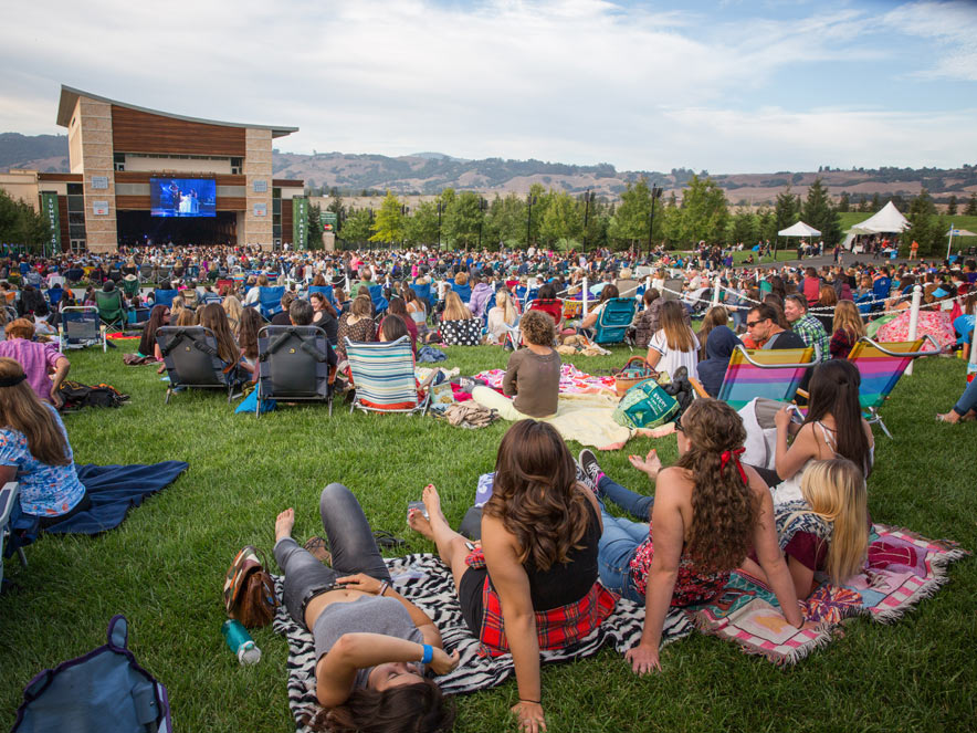 guests on the lawn of the green music center in Sonoma County