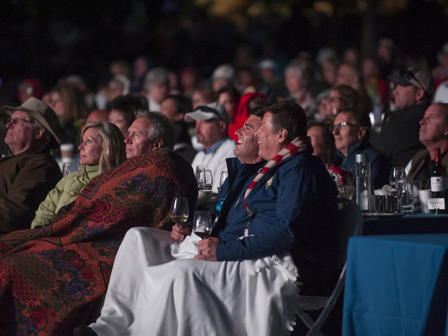 The audience enjoys the show on the outdoor lawn at the Green Music Center at Sonoma State University, Rohnert Park