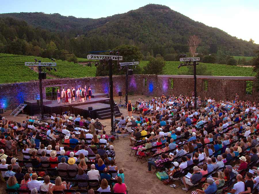 The audience enjoys a show at dusk at Transcendence Theatre's Broadway Under the Stars in Glen Ellen