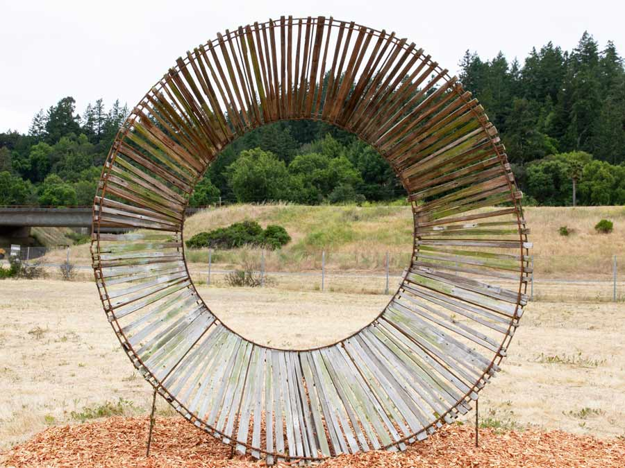 A round metal sculpture in Geyserville