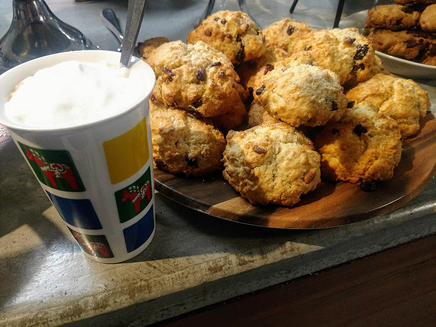 Image of coffee and scones from Baked on the River.
