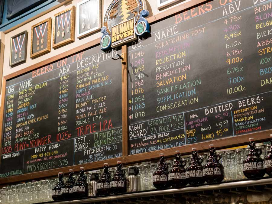 The chalkboard showing the many beers on tap at Russian River Brewing Company, Santa Rosa