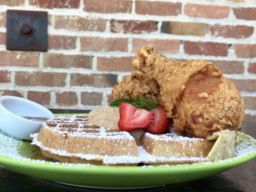 Image of chicken and waffles from Gator's Rustic Burger & His Creole Friends.
