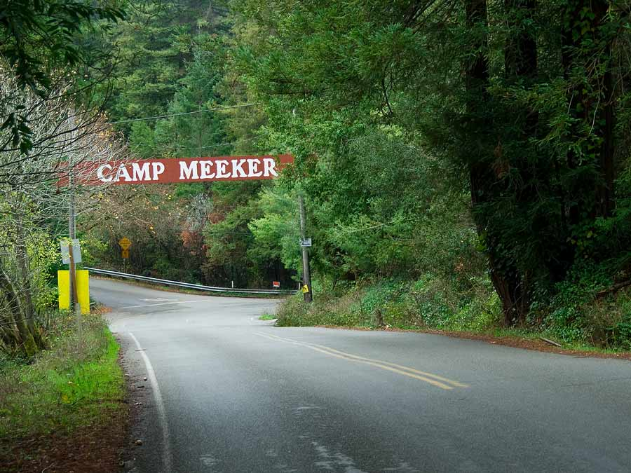 A road meanders through Camp Meeker, located on the Bohemian Highway between Occidental and Monte Rio. California Redwods
