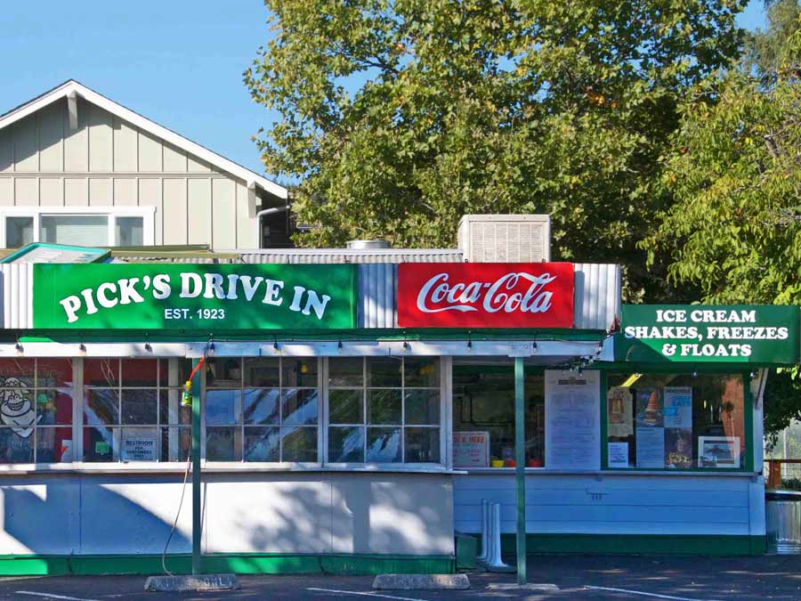 The exterior of the old-fashioned Pick's Drive-In in Cloverdale
