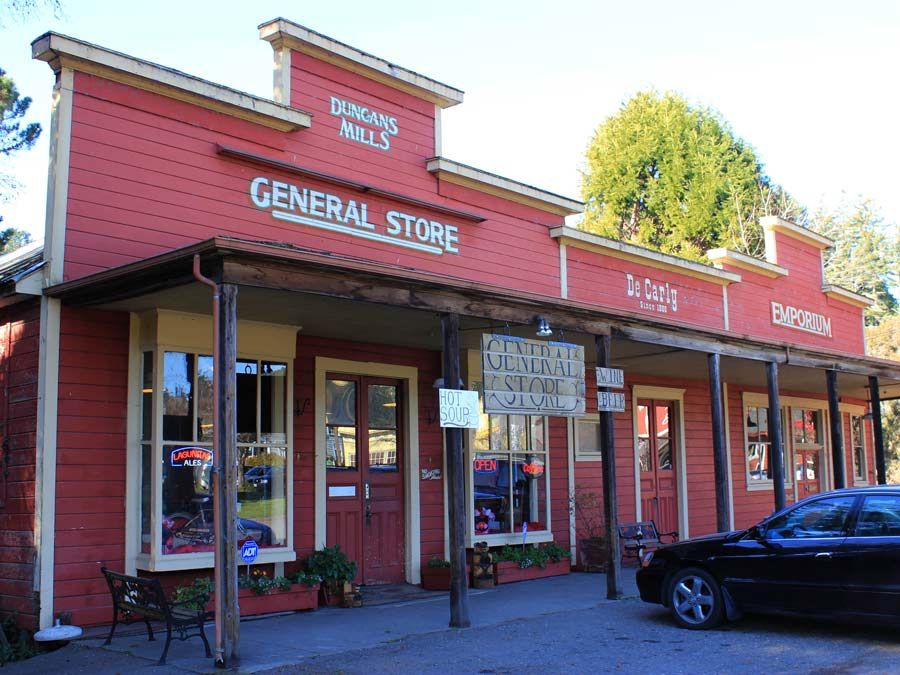 The exterior of the Duncans Mills General Store in Duncans Mills