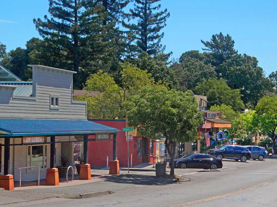 The quaint Main Street in downtown Forestville, Sonoma County