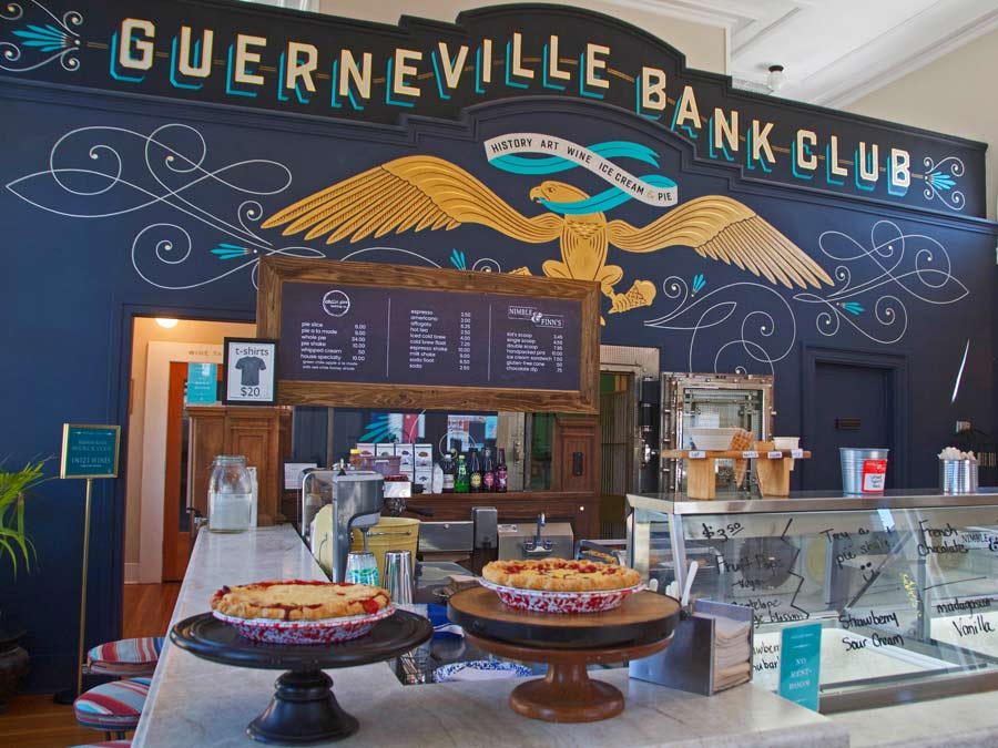 A mural with the words Guerneville Bank Club can be found by Nimble & Finn's Ice Cream in Sonoma County