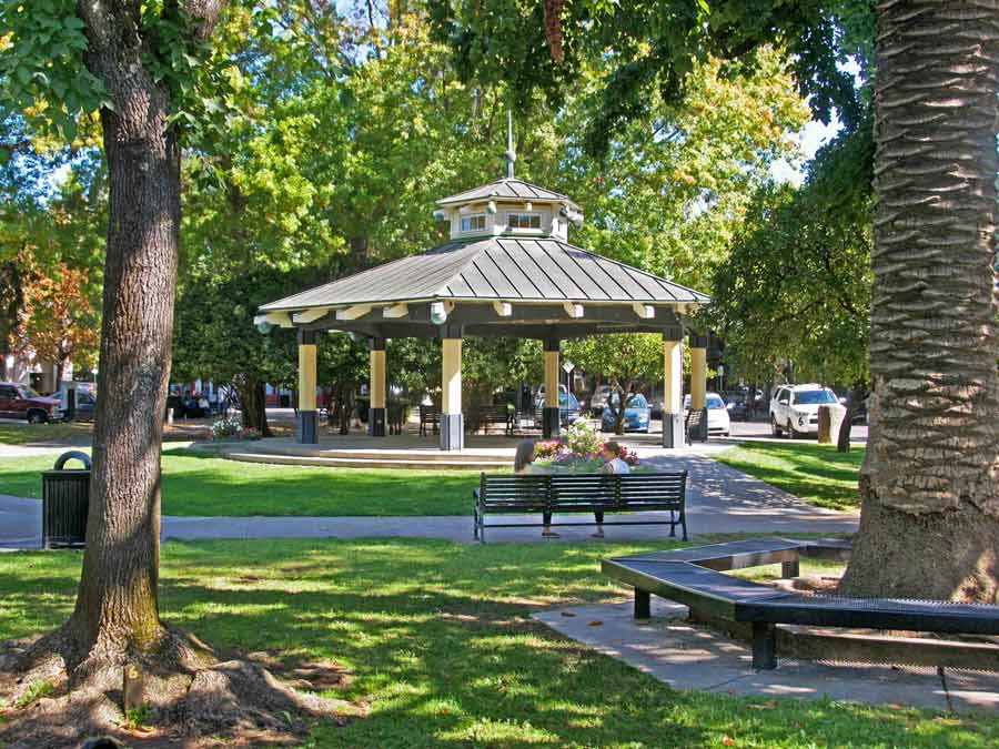 The gazebo in Healdsburg's picturesque plaza