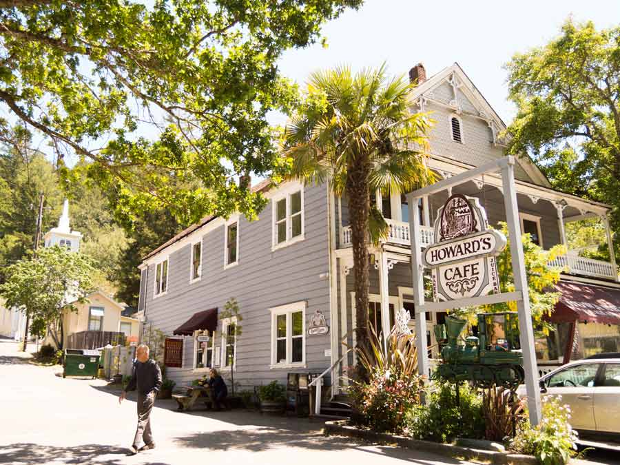 The exterior of Howard Station Cafe in the cute town of Occidental, Sonoma County