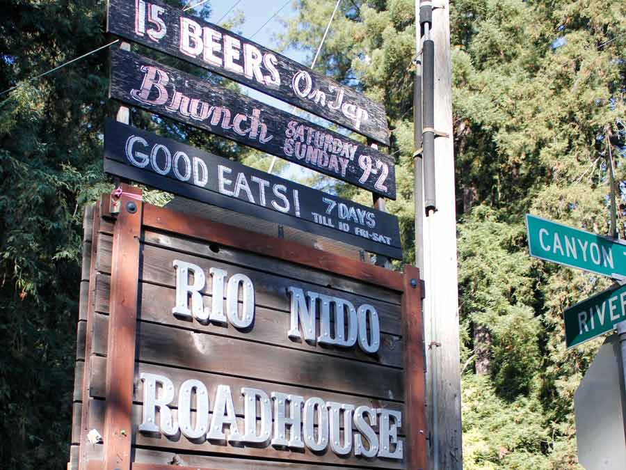 The sign to the Rio Nido Roadhouse in Sonoma County