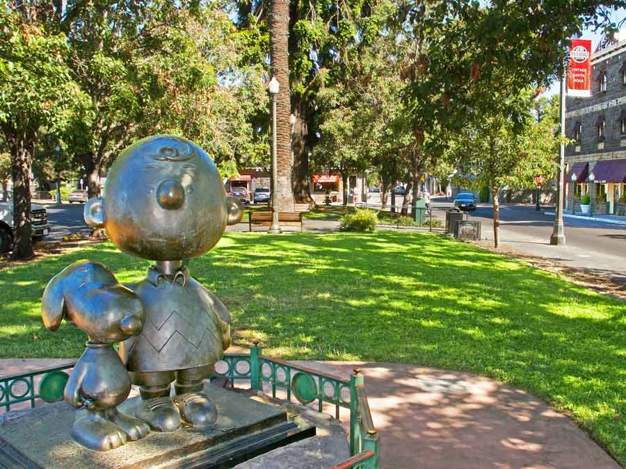 A bronze statue of Snoopy and Charlie Brown in Historic Railroad Square, Santa Rosa