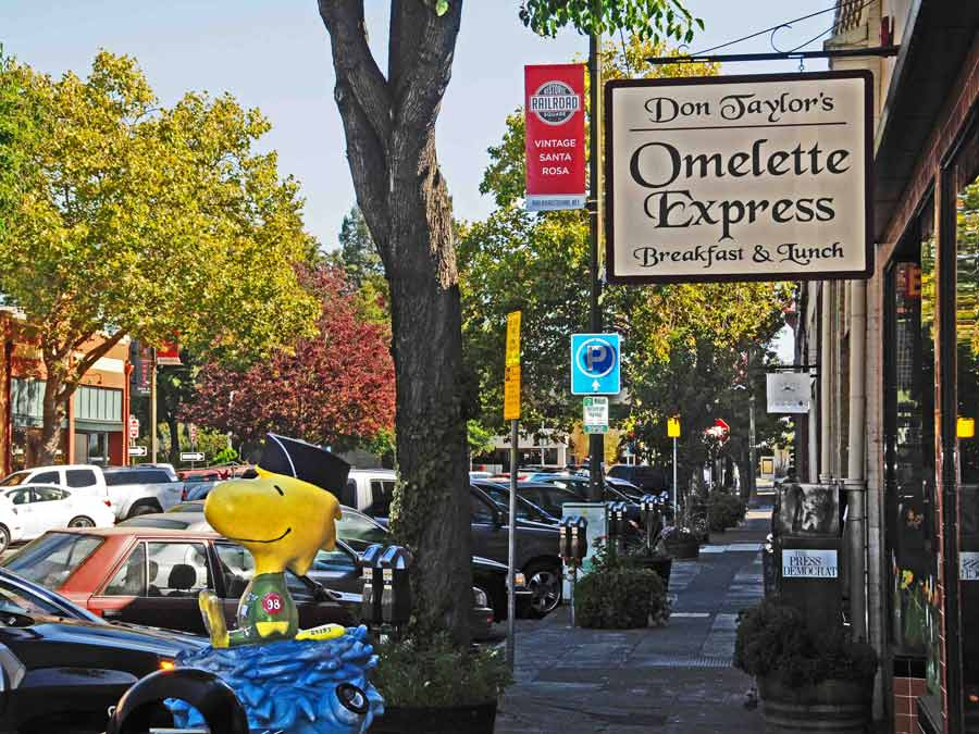 A statue of Tweety bird sits in front of Omelette Express in Railroad Square, Santa Rosa