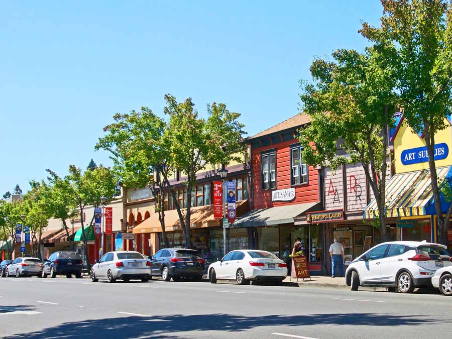 Cars are parked along Sebastopol's Main Street, Sonoma County