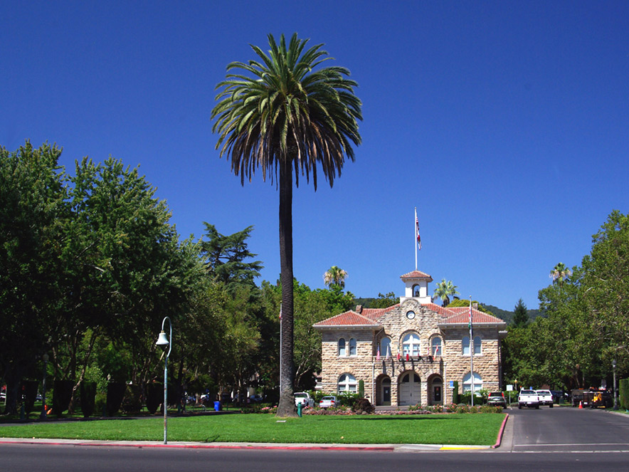 City Hall on the Sonoma Plaza on a clear day