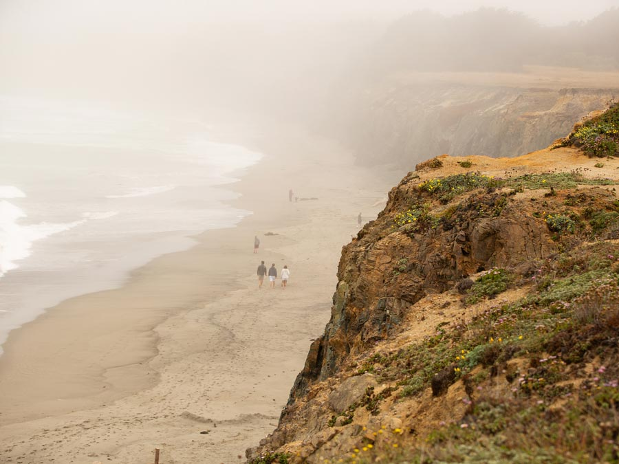 People walk along a deserted beach along the foggy coast in Sonoma County